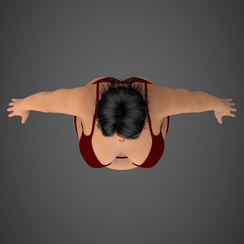 realistic fat woman 3d model 3ds max fbx c4d lwo ma mb texture obj 161408
