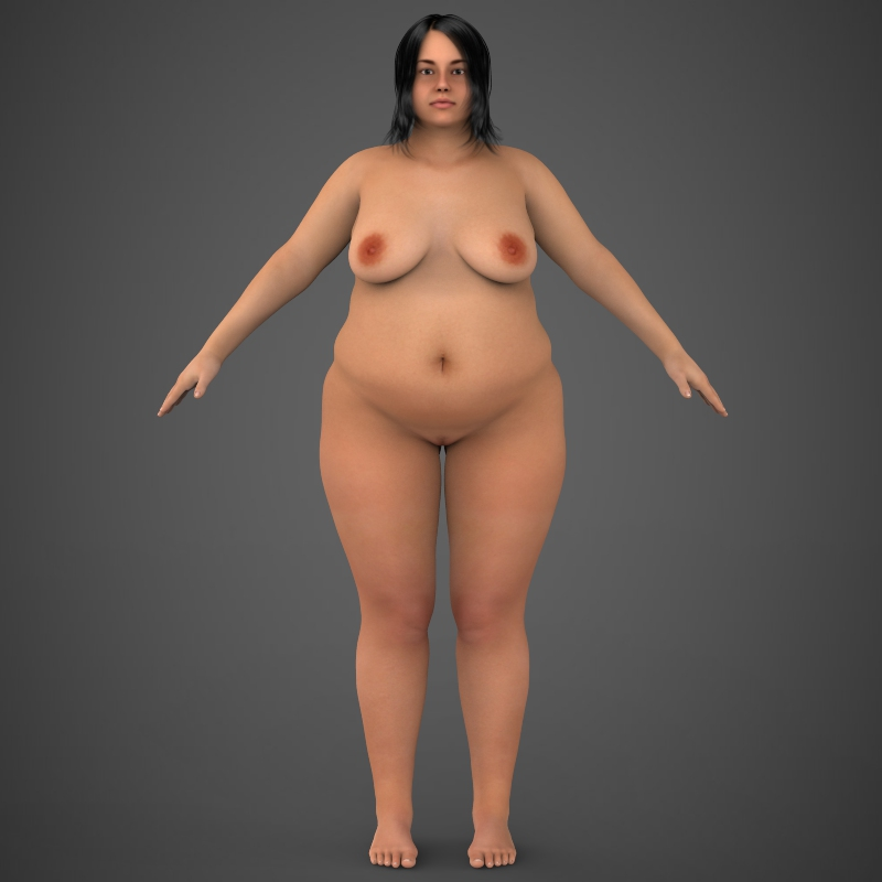 realistic fat woman 3d model 3ds max fbx c4d lwo ma mb texture obj 161409
