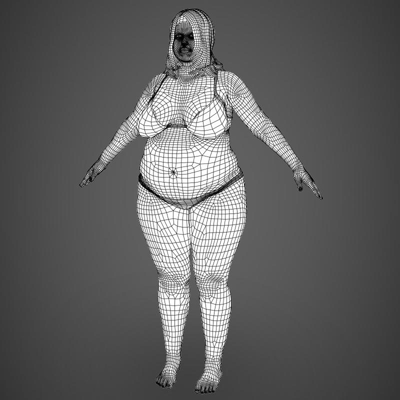 realistic fat woman 3d model 3ds max fbx c4d lwo ma mb texture obj 161410