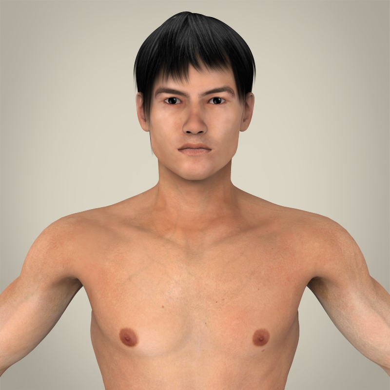 realistic young asian man 3d model 3ds max fbx c4d lwo ma mb texture obj 163983