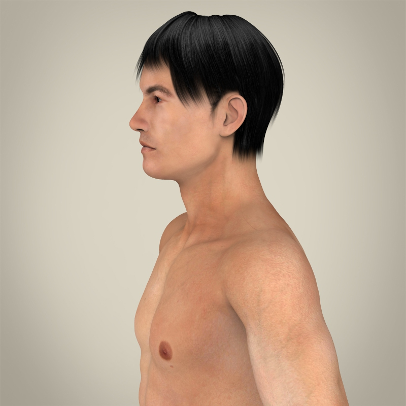realistic young asian man 3d model 3ds max fbx c4d lwo ma mb texture obj 163984