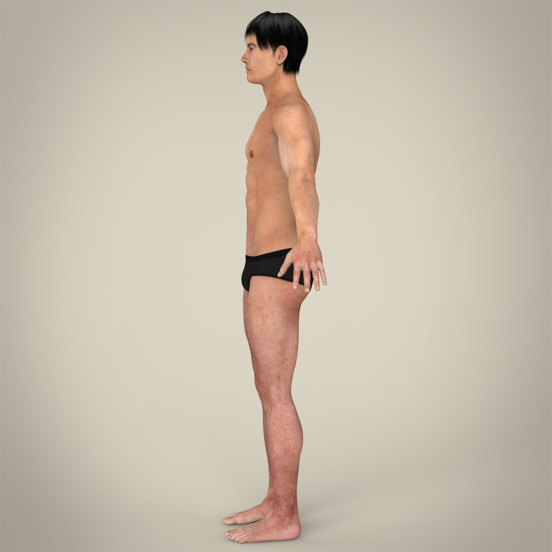 realistic young asian man 3d model 3ds max fbx c4d lwo ma mb texture obj 163991