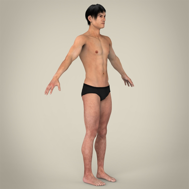 realistic young asian man 3d model 3ds max fbx c4d lwo ma mb texture obj 163996