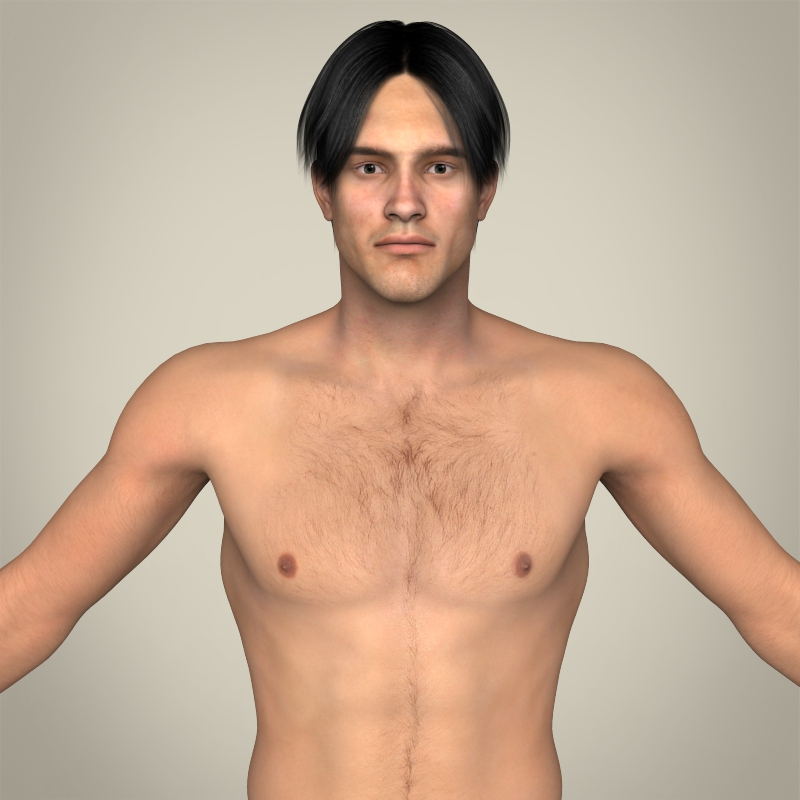 realistic young muscular male 3d model 3ds max fbx c4d lwo ma mb texture obj 161450