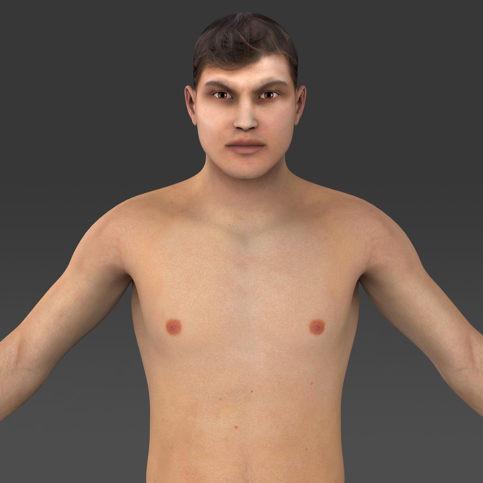 realistic young muscular man 3d model 3ds max fbx c4d lwo ma mb texture obj 161434