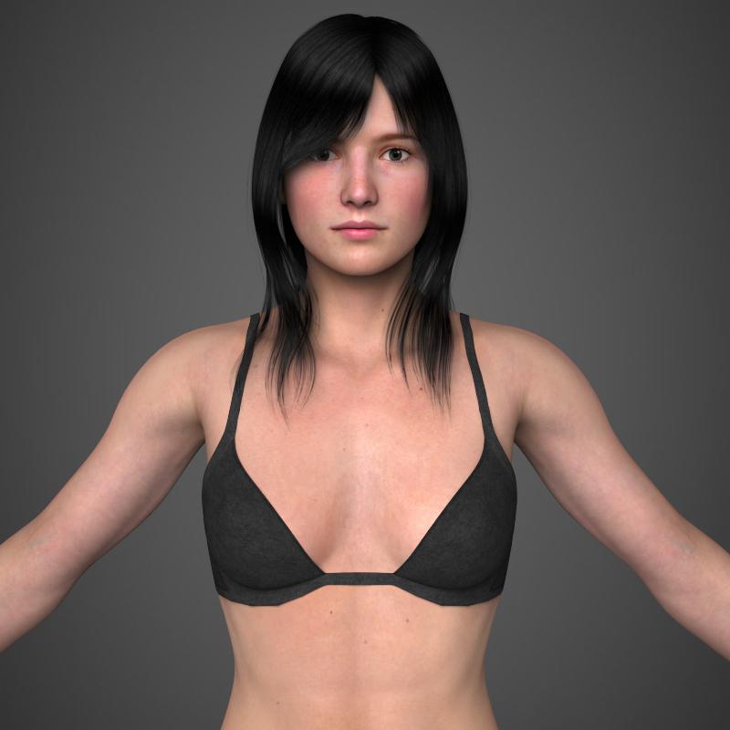 бодит залуу хөөрхөн охин 3d загвар 3ds хамгийн их fbx c4d lwo ma mb бүтэц obj 161482