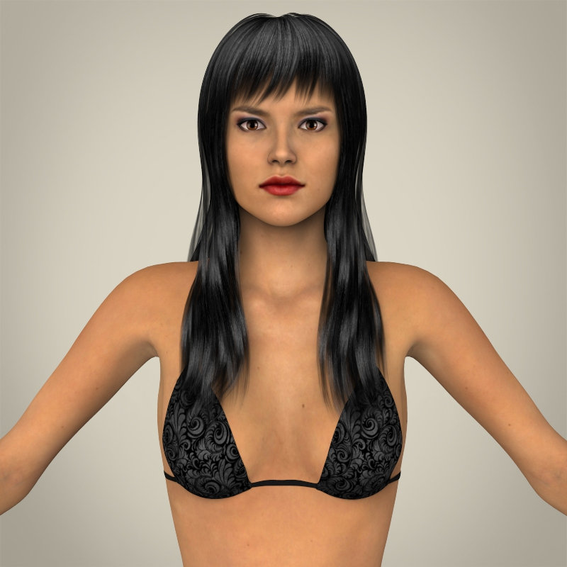 realistic young sexy female 3d model 3ds max fbx c4d lwo ma mb texture obj 161502