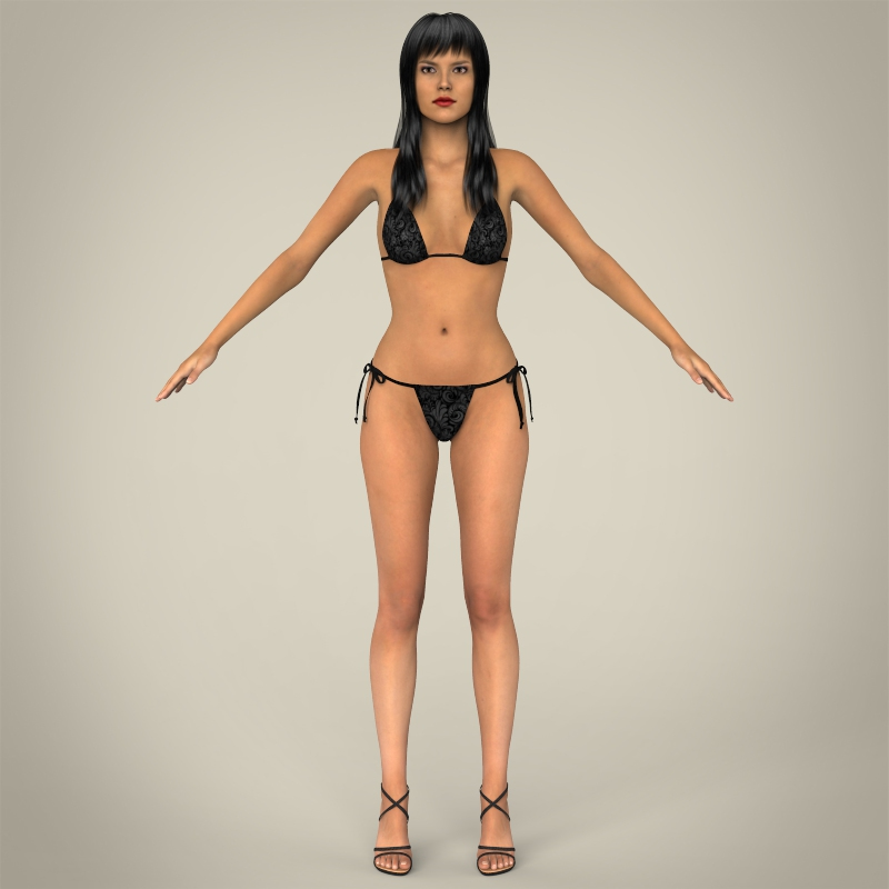 realistic young sexy female 3d model 3ds max fbx c4d lwo ma mb texture obj 161503