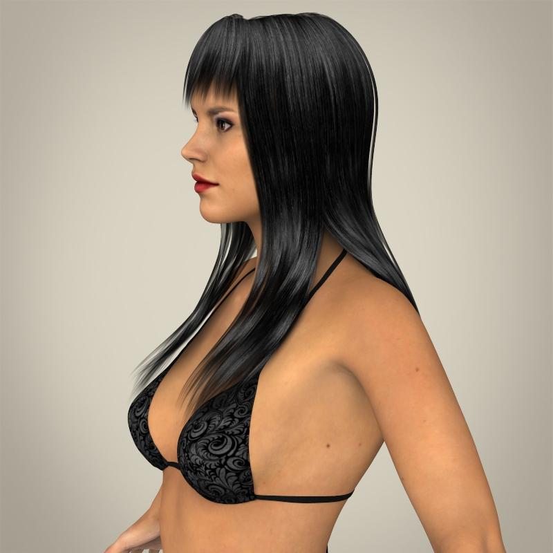 realistic young sexy female 3d model 3ds max fbx c4d lwo ma mb texture obj 161504