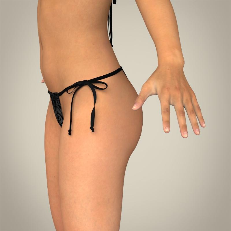 realistic young sexy female 3d model 3ds max fbx c4d lwo ma mb texture obj 161506