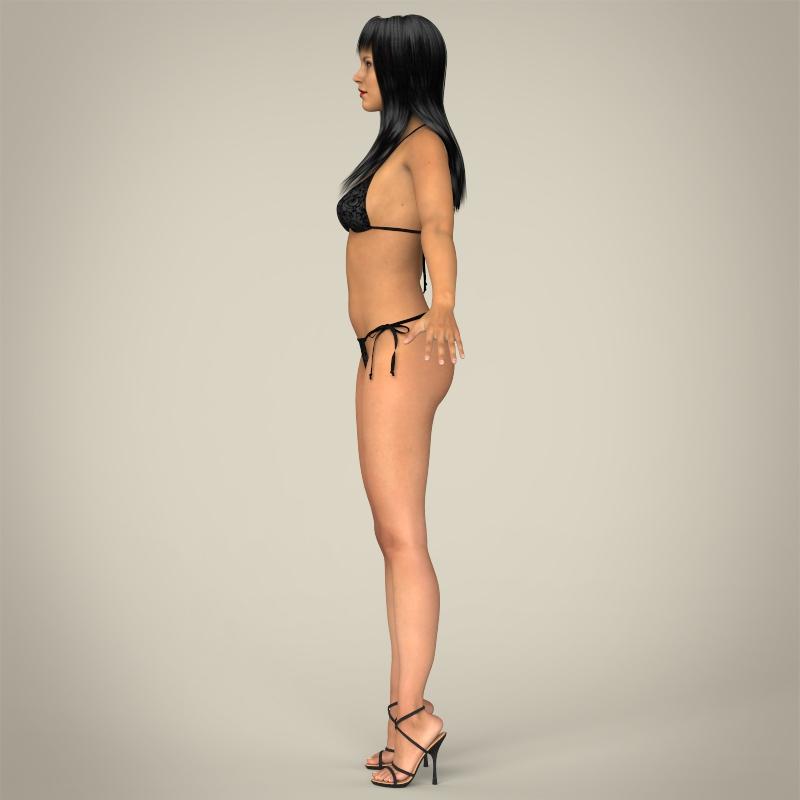 realistic young sexy female 3d model 3ds max fbx c4d lwo ma mb texture obj 161509