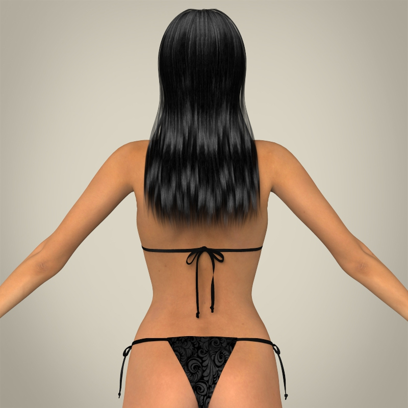 realistic young sexy female 3d model 3ds max fbx c4d lwo ma mb texture obj 161510