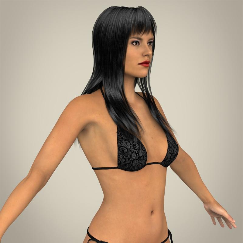 realistic young sexy female 3d model 3ds max fbx c4d lwo ma mb texture obj 161514