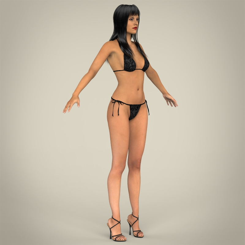 realistic young sexy female 3d model 3ds max fbx c4d lwo ma mb texture obj 161515
