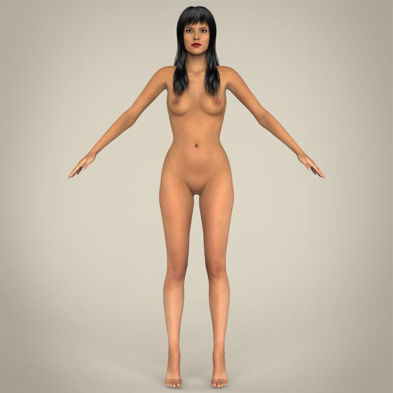 realistic young sexy female 3d model 3ds max fbx c4d lwo ma mb texture obj 161516