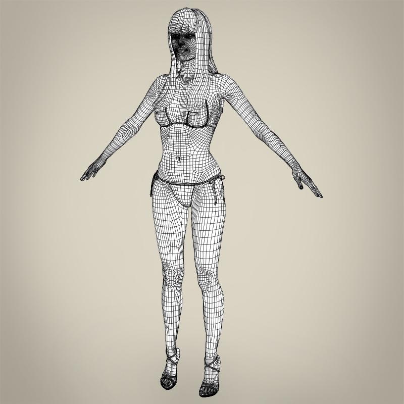 realistic young sexy female 3d model 3ds max fbx c4d lwo ma mb texture obj 161520