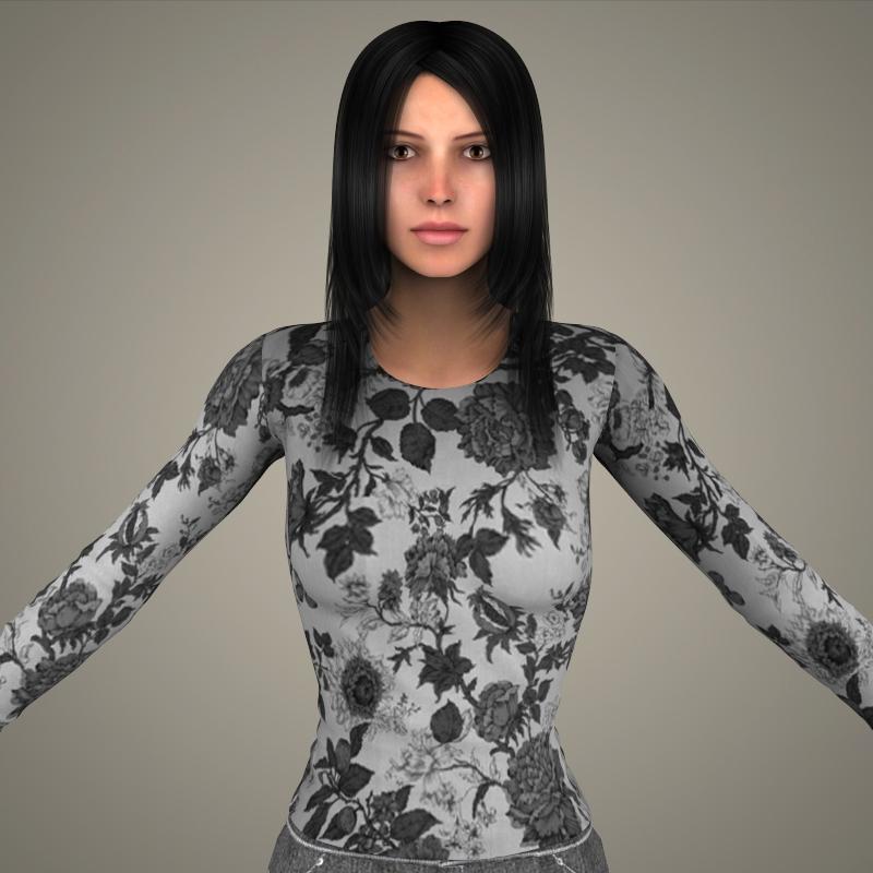 realistic young sexy girl 3d model 3ds max fbx c4d lwo ma mb texture obj 161521