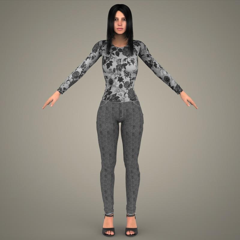 realistic young sexy girl 3d model 3ds max fbx c4d lwo ma mb texture obj 161522