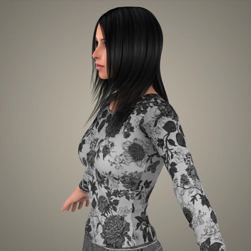 realistic young sexy girl 3d model 3ds max fbx c4d lwo ma mb texture obj 161523