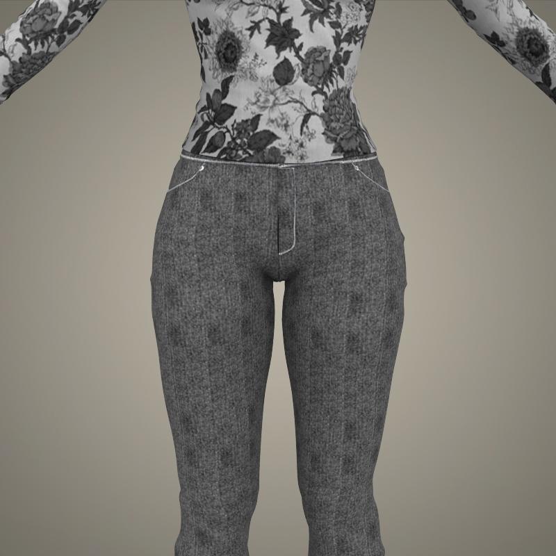 realistic young sexy girl 3d model 3ds max fbx c4d lwo ma mb texture obj 161524