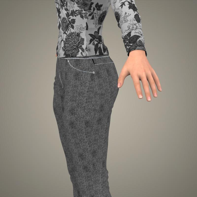 realistic young sexy girl 3d model 3ds max fbx c4d lwo ma mb texture obj 161525