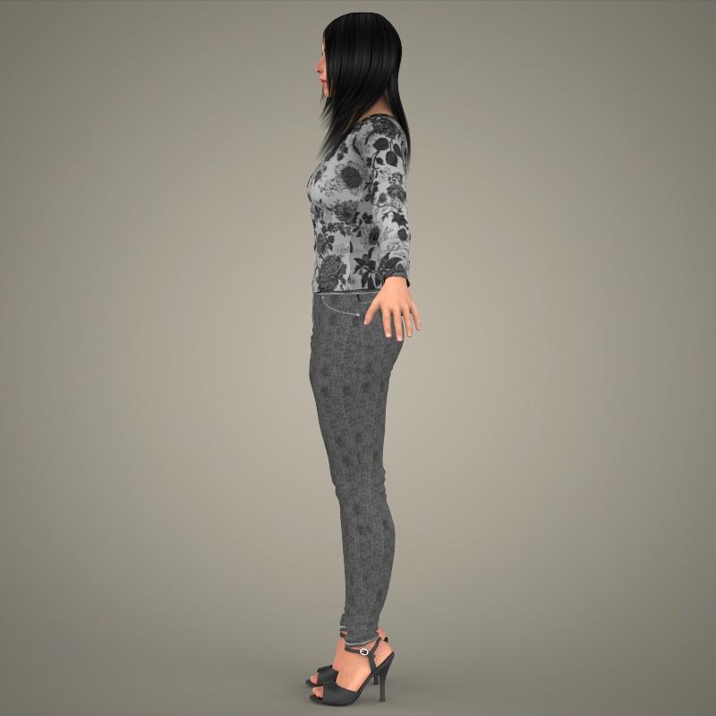 realistic young sexy girl 3d model 3ds max fbx c4d lwo ma mb texture obj 161528