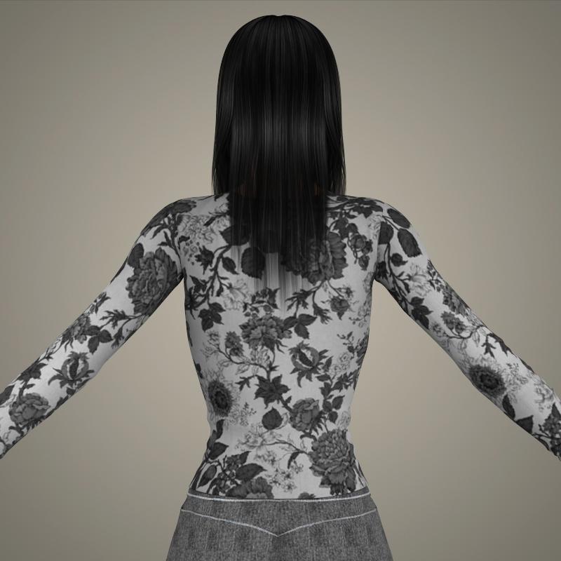 realistic young sexy girl 3d model 3ds max fbx c4d lwo ma mb texture obj 161529