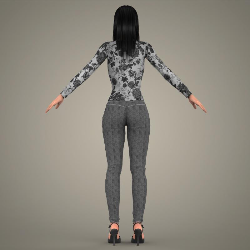 realistic young sexy girl 3d model 3ds max fbx c4d lwo ma mb texture obj 161531