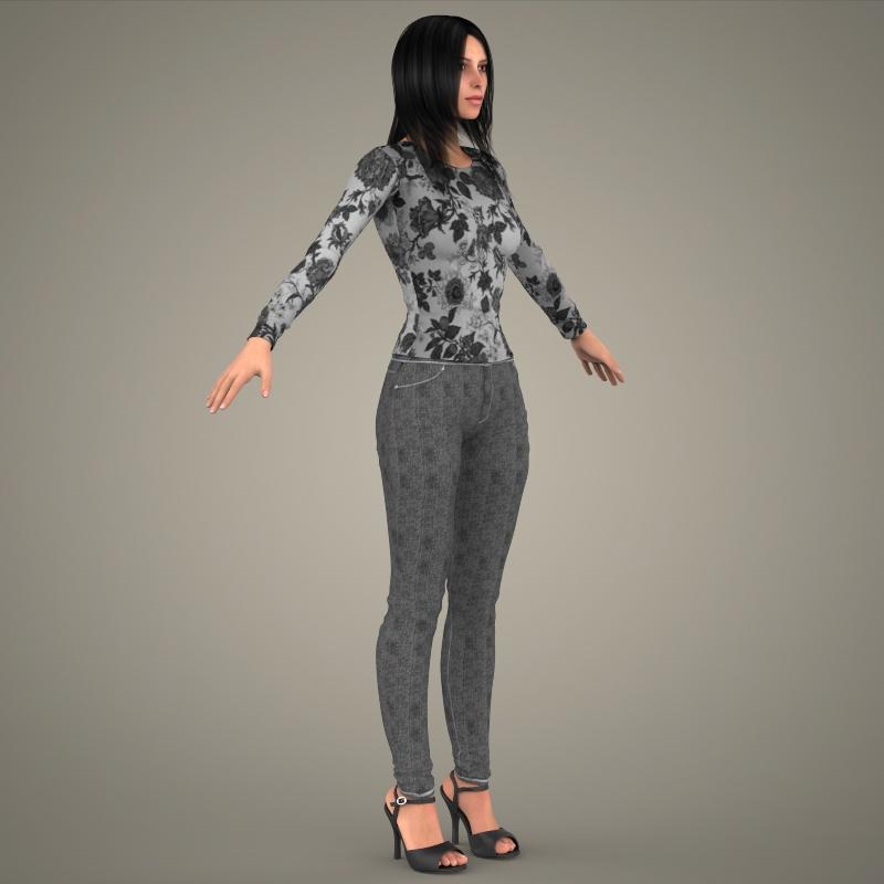 realistic young sexy girl 3d model 3ds max fbx c4d lwo ma mb texture obj 161532