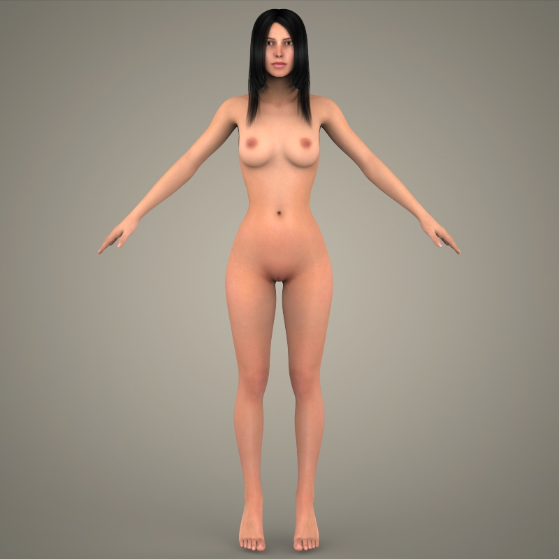 realistic young sexy girl 3d model 3ds max fbx c4d lwo ma mb texture obj 161534