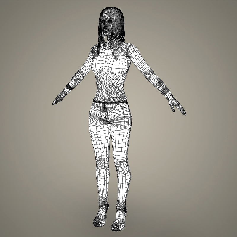 realistic young sexy girl 3d model 3ds max fbx c4d lwo ma mb texture obj 161538