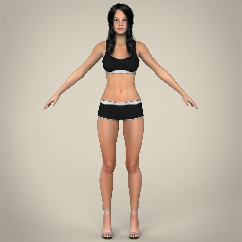 realistic young teen girl 3d model 3ds max fbx c4d lwo ma mb texture obj 161743