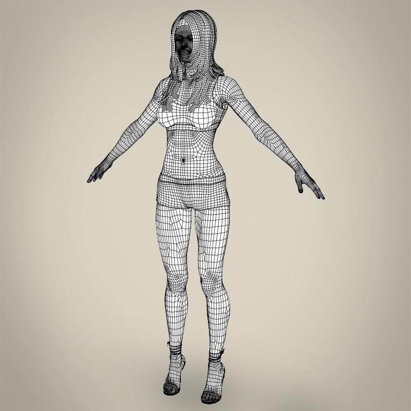 realistic young teen girl 3d model 3ds max fbx c4d lwo ma mb texture obj 161761