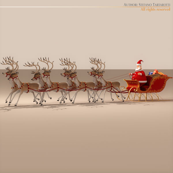 toon santa in sleigh with reindeer 3d model 3ds max dxf fbx c4d dae ma mb obj 121291