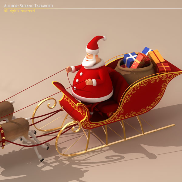 toon santa in sleigh with reindeer 3d model 3ds max dxf fbx c4d dae ma mb obj 121292