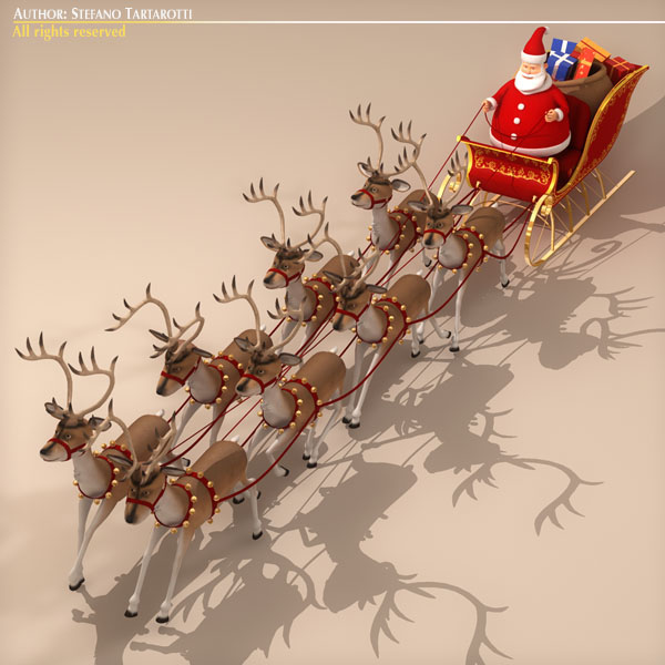 toon santa in sleigh with reindeer 3d model 3ds max dxf fbx c4d dae ma mb obj 121293