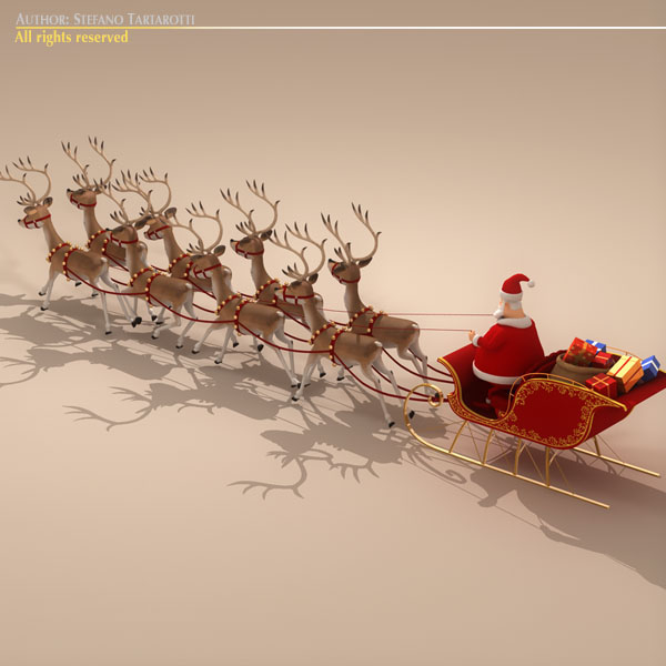 toon santa in sleigh with reindeer 3d model 3ds max dxf fbx c4d dae ma mb obj 121294
