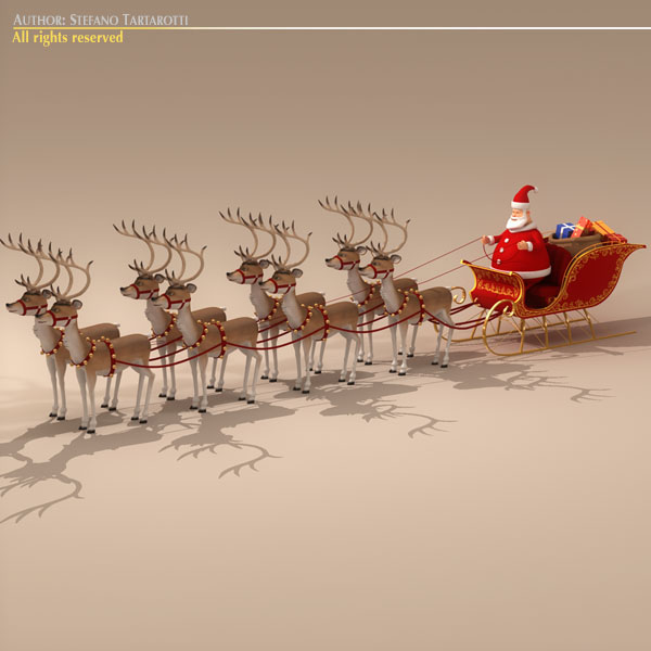 toon santa in sleigh with reindeer 3d model 3ds max dxf fbx c4d dae ma mb obj 121295