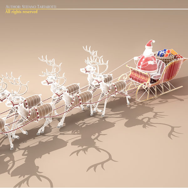 toon santa in sleigh with reindeer 3d model 3ds max dxf fbx c4d dae ma mb obj 121297