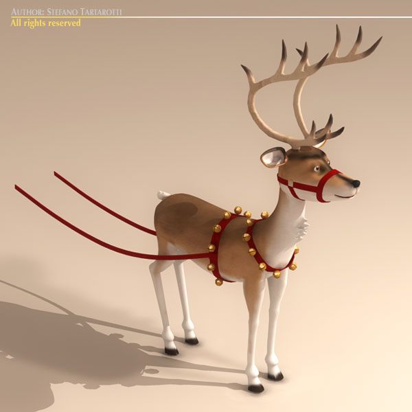toon santa in sleigh with reindeer 3d model 3ds max dxf fbx c4d dae ma mb obj 121302