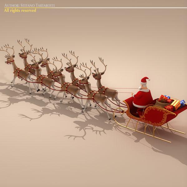 toon santa in sleigh with reindeer 6929kb jpg by tartino - Santa And Reindeer Pictures