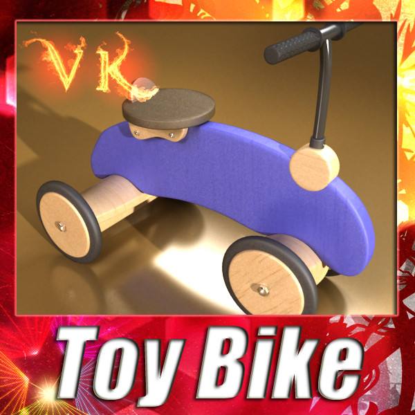 wooden riding toy bike 3d model max fbx obj 131714