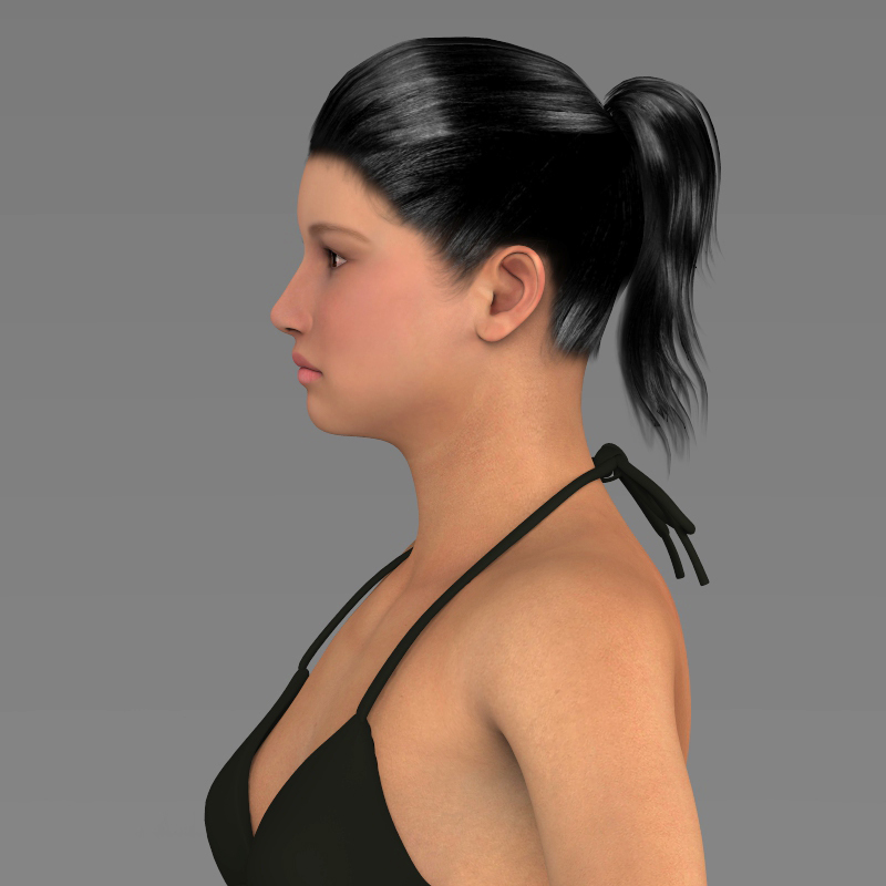young pretty girl 3d model 3ds max fbx c4d lwo ma mb texture obj 161540