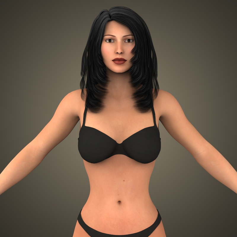 young sexy girl 3d model 3ds max fbx c4d lwo ma mb texture obj 161558