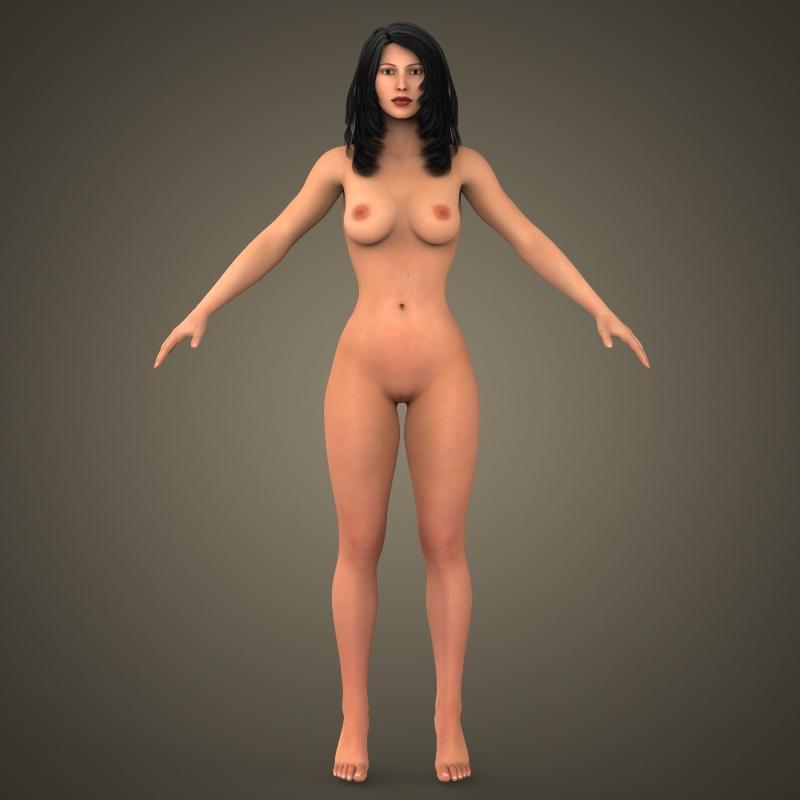young sexy girl 3d model 3ds max fbx c4d lwo ma mb texture obj 161571