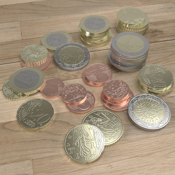 french euro coins 3d model 3ds fbx skp obj 120558