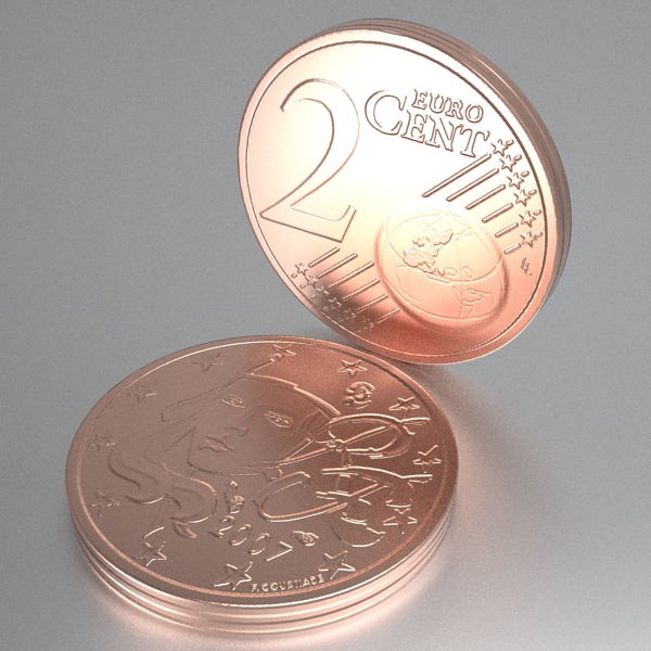 french euro coins 3d model 3ds fbx skp obj 120561
