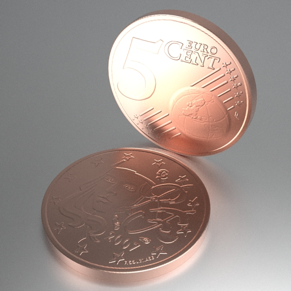 french euro coins 3d model 3ds fbx skp obj 120562