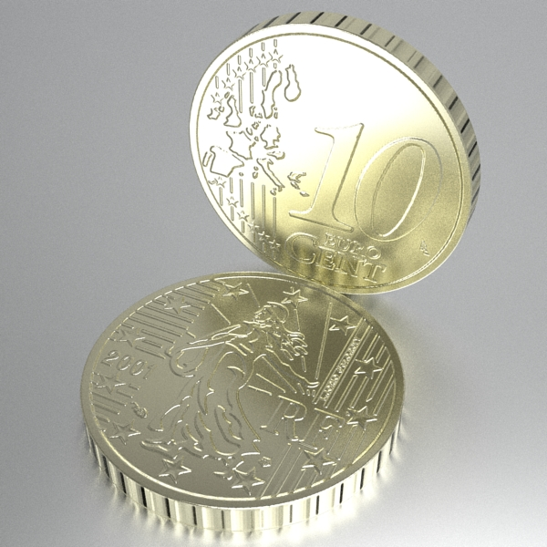 french euro coins 3d model 3ds fbx skp obj 120563