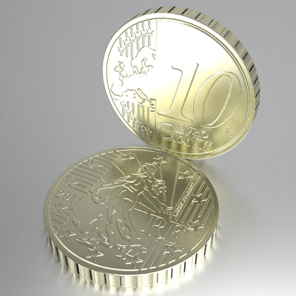 french euro coins 3d model 3ds fbx skp obj 120564